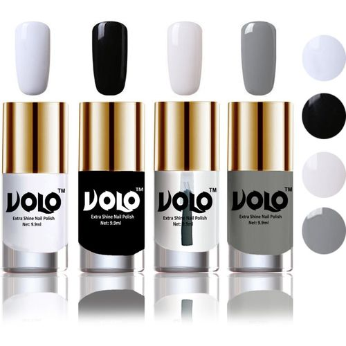 Volo HD Colors High-Shine Long Lasting Non Toxic Professional Nail Polish Set of 4 Matte White, Black, Extra Shine Top Coat, Grey(Pack of 4)