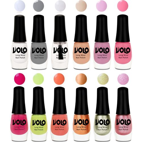 Volo Color Rich Toxic Free Perfection Shine Nail Polish Set of 12 Matte White, Extra Shine Top Coat, Grey, Light Purple, Light Pink, Pink skin , Parrot Green,