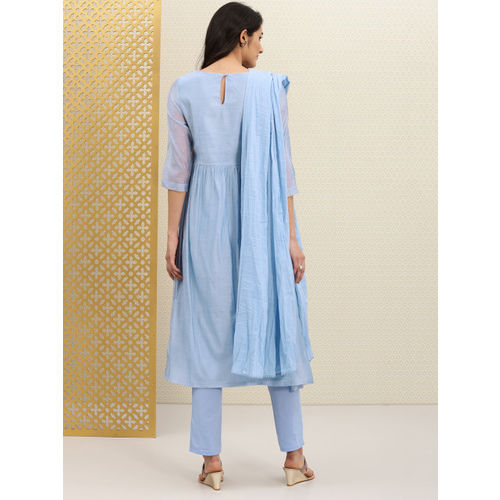 House of Pataudi Women Blue Embroidered Kurta with Trousers & Dupatta