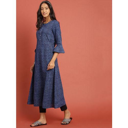 Taavi Women Blue & Black Indigo Hand Block Print A-Line Kurta with Trousers