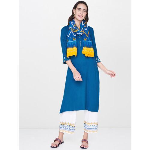 Global Desi Women Blue Solid Straight Kurta