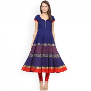 MBE Women Blue Printed Anarkali Kurta