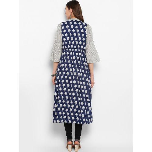 aayusika Women Blue & White Printed A-Line Layered Kurta