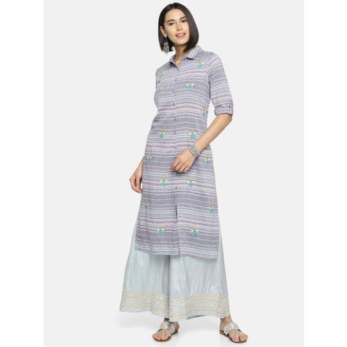 Melange by Lifestyle Women Blue & Off-White Embroidered Straight Kurta