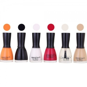 Aroma Care Candy Long Stay Quick Dry Nail Polish Combo Set of 6 ( White, Maganta, Top Coat Shades) Light Orange, Black, White, Maganta, Top Coat, Skin(Pack of 6)