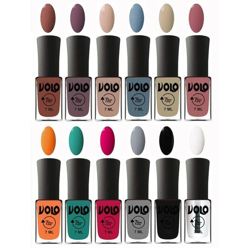 Volo No Chipping-No Fading Longest Lasting Ever Nail Polish Set Chocolate Brown, Light Purple, Light skin , Light Blue, Skin skin , Chocolate Peach, Orange,