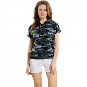 AV2 Casual Short Sleeve Printed Women Blue, Dark Green Top