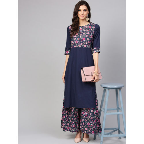Nayo Women Navy Blue & Pink Yoke Design Kurta with Sharara