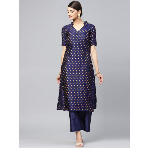 Inddus Women Navy Blue Woven Design Straight Kurta