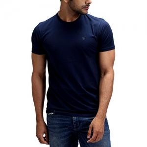 Greyy Supima Blue Cotton Crew Neck Short Sleeve T-Shirt