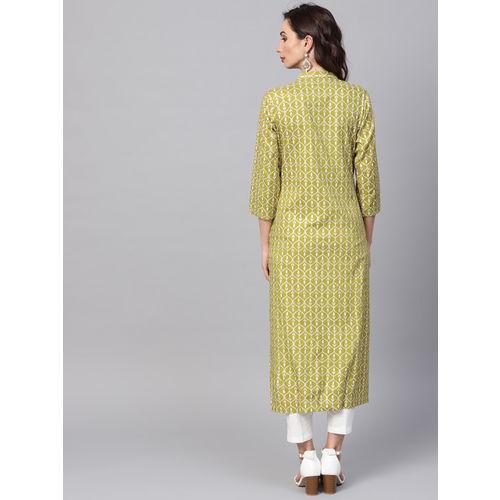 SOJANYA Women Green & Off-White Printed A-Line Kurta