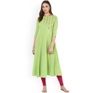 MBE Women Green Solid Anarkali Kurta