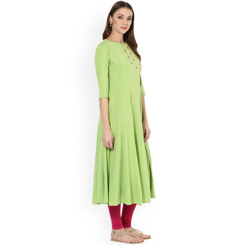 MBE Women Green Solid Anarkali Kurta