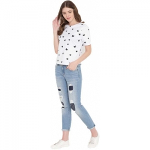 Gritstones White Cotton Half Sleeve Printed Women Top