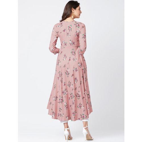 Tissu Pink Rayon Floral Print A-Line Kurta