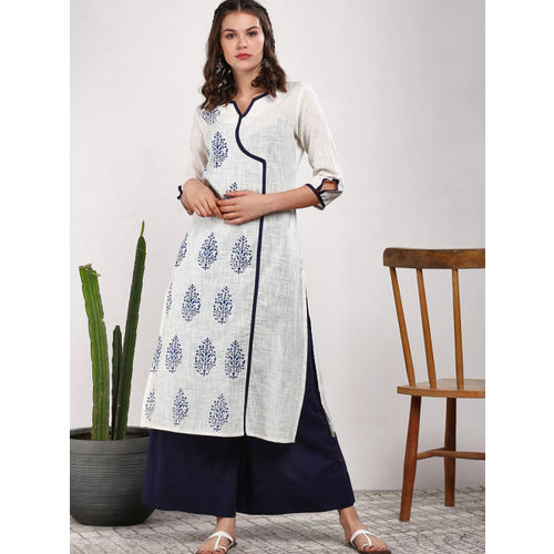 Sangria Women Off-White & Navy Blue Printed Kurta with Palazzos