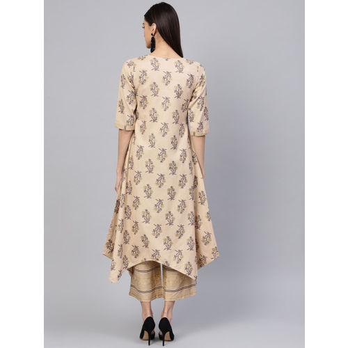 Libas Women Beige & Black Block Print Kurta with Palazzos