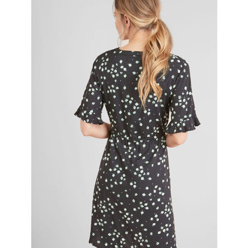 next Women Black Printed Fit & Flare Dress