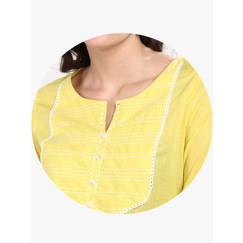 Sangria Women Yellow Yoke Design Kurta with Trousers