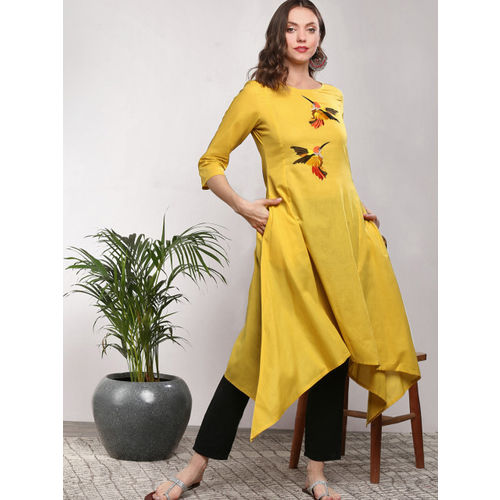 Sangria Women Yellow Embroidered A-Line Kurta