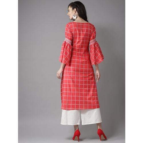 Moda Rapido Women Red & White Checked Straight Kurta