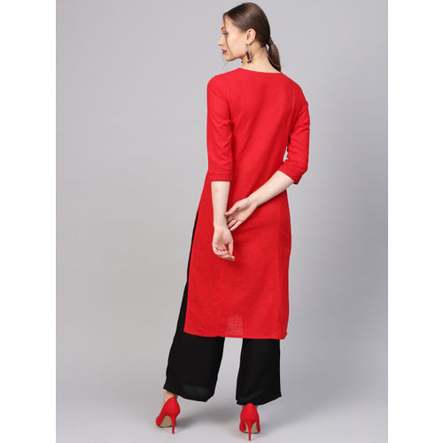 Jaipur Kurti Women Red & Black Yoke Design Kurta with Palazzos