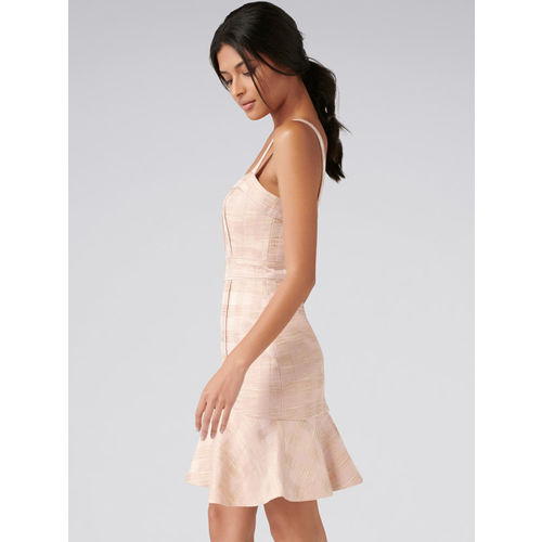 Forever New Women Pink Self Checked Sheath Dress