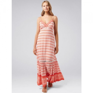 Forever New Women White & Peach-Coloured Printed Maxi Dress