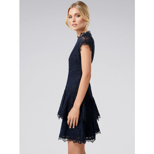 Forever New Women Navy Blue Solid Fit and Flare Dress