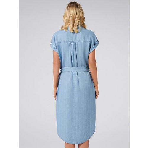 Forever New Women Blue Solid Denim Shirt Dress