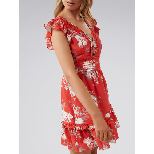 Forever New Women Red Printed Fit & Flare Dress
