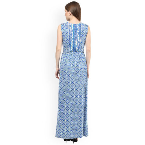 109F Women Blue Printed Maxi Dress