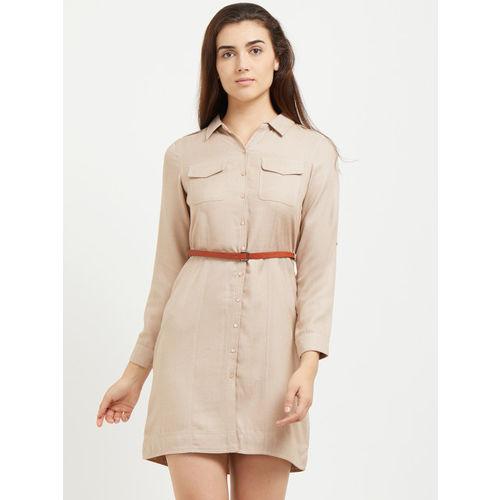 109F Women Beige Solid Shirt Roll-Up Sleeves Dress