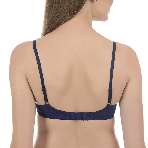 Amante Pink & Blue No Show Lace Padded Wired T Shirt Bra