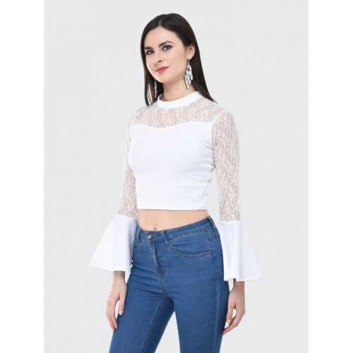 BuyNewTrend Casual Bell Sleeve Solid, Lace Women White Top
