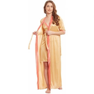 claura Gold Satin V Neck Nighty with Robe