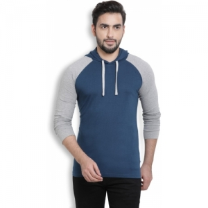 Billion Cotton Blend Perfect Fit Solid Hooded Blue, Grey T-Shirt