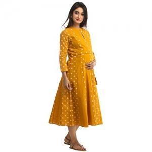 ANAYNA Yellow Cotton Printed Maternity Dress