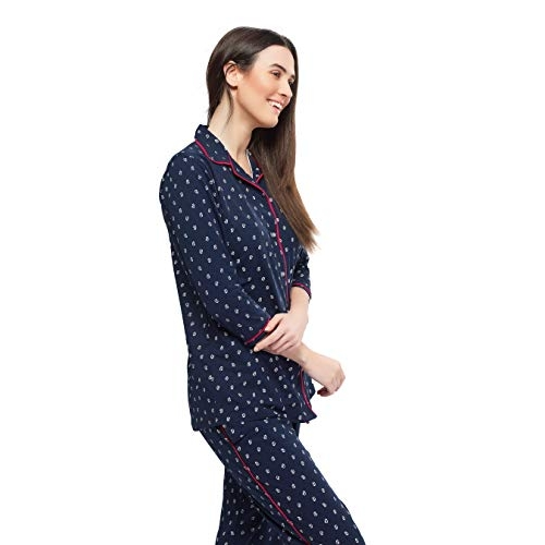 ZEYO Blue Cotton Printed Night Suit