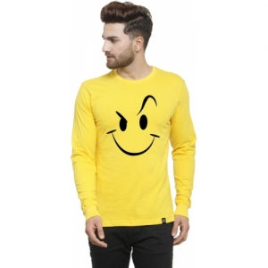 Friskers Printed Cotton Blend Round Neck Yellow, Black T-Shirt