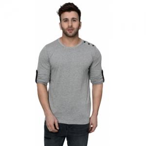 Kay Dee Solid Cotton Blend Henley Grey, Black T-Shirt