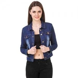 G.S.A ENTERPRISES Blue Denim 3/4 Sleeves Comfort Fit Regular Collar Jacket