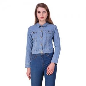 Clo Clu Sky Blue Denim Comfort Fit Full Sleeves Collar Jacket