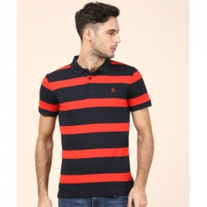 acb52b4a9 United Colors of Benetton Striped Cotton Blend Polo Neck Red, Dark Blue T- Shirt