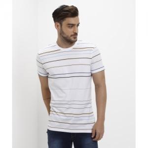 b8d0de2206 United Colors of Benetton Striped Cotton Blend Round Neck White T-Shirt