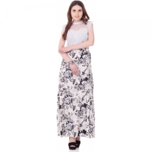 Aayu White Printed Maxi Dress For Women