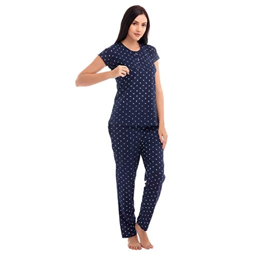 ZEYO Navy Blue Cotton Floral Print Feeding Night Suit