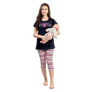 AV2 Black Cotton Maternity Wear/Feedind/Nursing Top & Capri Set