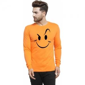 Friskers Printed Cotton Round Neck Orange T-Shirt