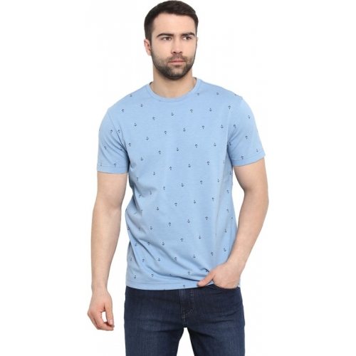 Red Tape Printed Polycotton Round or Crew Blue T-Shirt